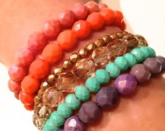 Six Gorgeous Chunky Stacking Statement Bracelets. Order as shown or select your own color combinations. Lots of colors to choose from..