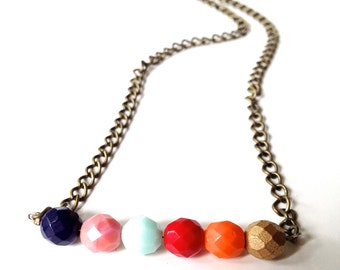 Beautiful Autumn Colors Czech Glass  Beaded Necklace. A colorful pick of sparkling beads to enhance any outfit, any season. Can Customize