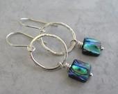 Abalone Earrings Silver Hoops Sterling Silver Jewelry Paua Shell Beaded Earrings