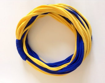"""Infinity Scarf  - Royal Blue and Yellow Color - w/Royal Blue Band - Approx. 28"""" - 14 strands, Back To School"""