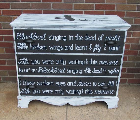 BEATLES BLACKBIRD OOAK Lyrics Dresser Rustic Black White Vintage Shabby Chic Distressed Buffet Sideboard Salvaged Refinished Whagn
