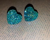 Large aqua faceted sparkle teal heart hypoallergenic earrings