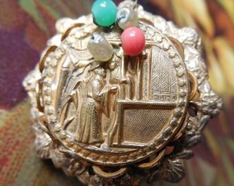MIRIAM HASKELL Gold Oriental Scene Earrings