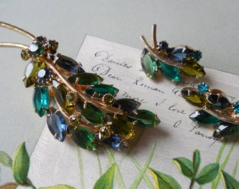 Blue Green Rhinestone Leaf Brooch & Earrings Set