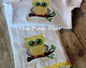 Owl Appliqued  Baby Set