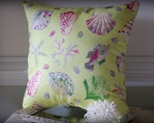 Beach Decor Seashell Lovers Pillow - Seashells, Starfish, Sea Fans, Sea Urchins, Fish