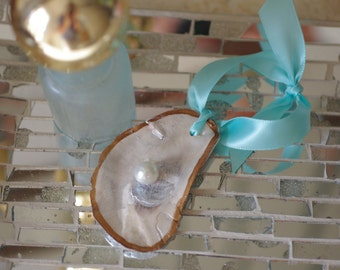 Oyster Shell Christmas Ornament - Holiday Ornament - Pick Your Ribbon