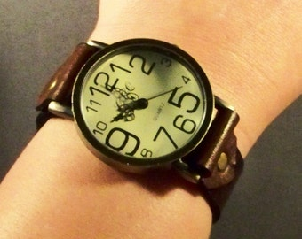 Leather Watch, Brown Leather Watch, Brass Watch, Mens Watch, Womens Watch, Leather Cuff Watch, Bracelet Watch, Leather Wristband, Gift