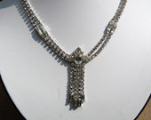 Signed Sterling Silver Rhinestone Y Necklace by Jay Flex