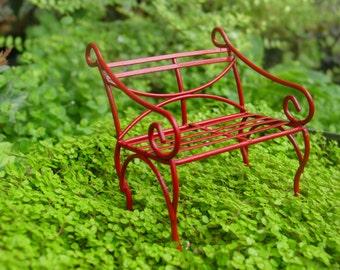 Red Fairy Garden Accessories, Miniature Garden Bench