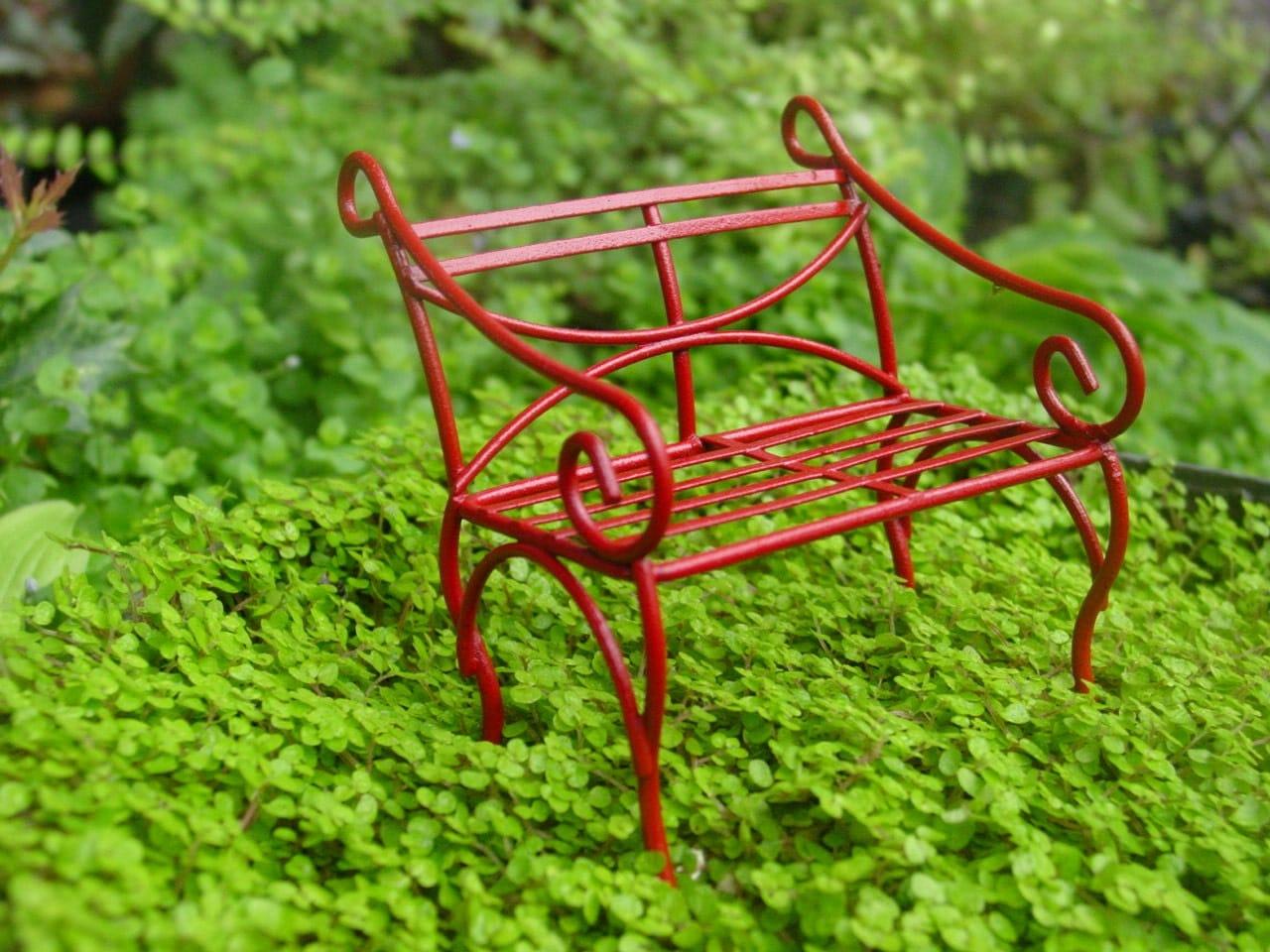 Red Fairy Garden Accessories Miniature Garden Bench