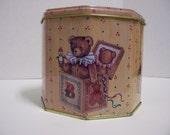 Vintage Octagon Shaped Teddy Bear Tin