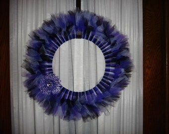 Black and Purple Tulle Wreath with Animal Print Flower