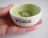 CUSTOM RING DISH bridal shower gift idea wedding gift for bride gift for couple personalized key lime green interior or choose custom color