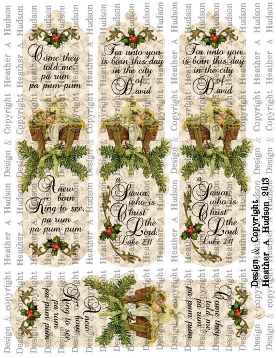 Vintage Victorian Baby Jesus Advent By Candle Light Book Mark Table Favors digital Collage Sheet Printable