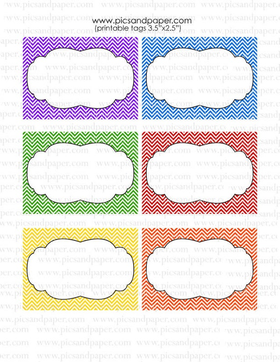 Chevron Printable Tags, You add your own text, for teachers, gift tags ...