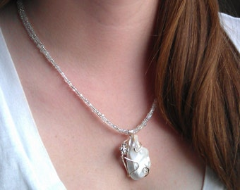 Bold Fresh Water Pearl Pendant Necklace - handmade