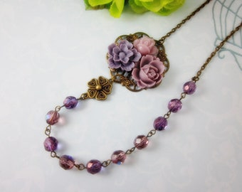 Purple Roses Necklace. Gift for her. Anniversary, Birthday, Christmas, Bridesmaid, Maid of Honor