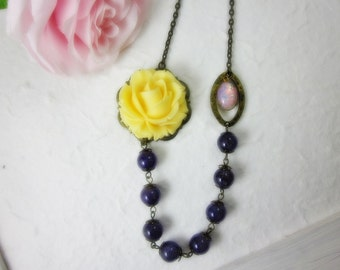 Yellow Rose with amethyst beads and opal glass jewel Necklace. Gift for her.  Anniversary, Birthday, Christmas, Maid of Honor.