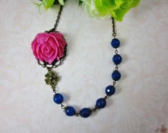 Hot Pink Rose Necklace.  Gift for her. Anniversary, Birthday, Bridesmaid, Maid of Honor.