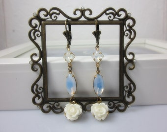 Petite White Roses with vintage style glass jewels Earrings. Retro. Bridal Jewelry. For lovely bride.