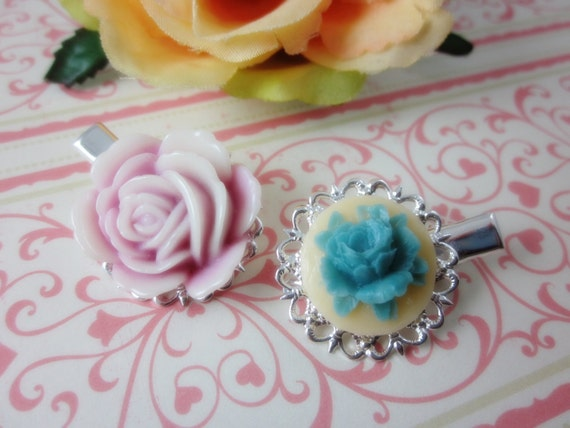 Flower Hair Clips. Set of 2. Pink and Turquoise Rose Silver Plated Filigree Alligator Hair Clips. Gift for her.