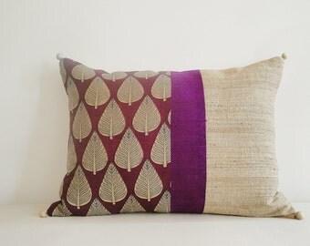 Block Printed Purple , Color Blocked  Silk Cushion Cover , Throw Pillow , Decorative Pillow