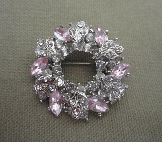 Pink Rhinestone Brooch, circle brooch, vintage
