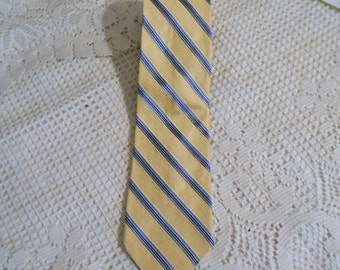 Vintage NAUTICA SILK NECKTIE Blue Diagonal Stripes on Butter Yellow, American Made with Imported Fabric, Handsome Guy Man Fathers Day Gift