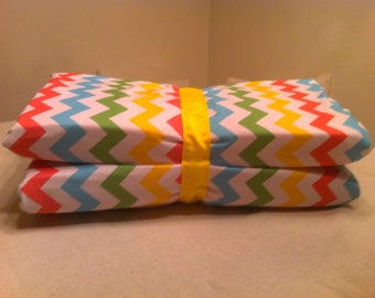 Pink Rainbow Chevron KinderMat Cover