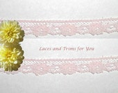 Pink Lace Trim 15 Yards Dainty Floral 3/8 inch wide Lot O18A Added Items Ship No Charge