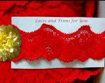Red Lace Trim 8/16 Yards Stretch Scalloped 1-7/8 inch wide Lot N88 Added Items Ship No Charge