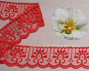 Red Lace Trim 12/24 Yards Candlewick 1-1/4 inch wide Lot R128 Added Items Ship No Charge