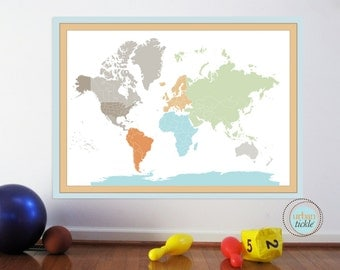 NEW World Map Decal for Kids, World Map Sticker, 40X50 inches, Nursery Decor, Baby Room, Play room ideas