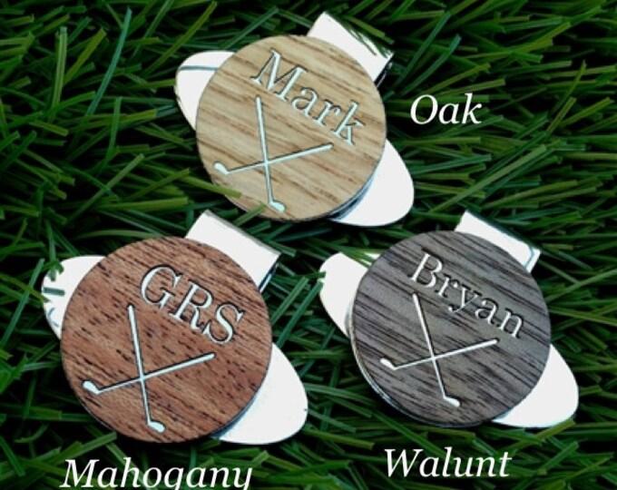 Personalized Wood Golf Ball Marker & Custom Gift Box - Custom Wood Golf Ball Marker / Hat Clip