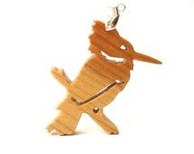 Kingfisher Bird Necklace Wood Animal Pendant Cherry Hand Cut Scroll Saw