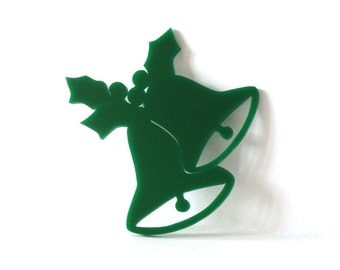 Christmas Bell Ornament Holiday Decoration Package Tie On Acrylic Scroll Saw Green Hand Cut