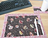 Quilted Placemat, Coffee Placemat, Coffee Decor, Office Decor, Brown and Pink placemat, Desk placemat, Office placemat, Coffee cup fabric