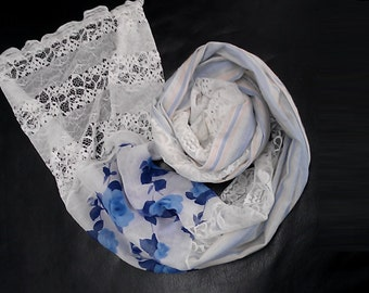 A Beautiful Soft and Romantic   Shabby Chic White  Scarf  with Blue Flowers,  Blue Stripes and Lace  Combo. Combo. BF