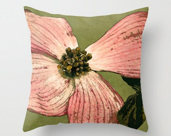 Pillow Cover, Pink Dogwood, Moss, Green, Brown, Decorative Throw Pillow Cover, fPOE, 16x16, 18x18, 20x20