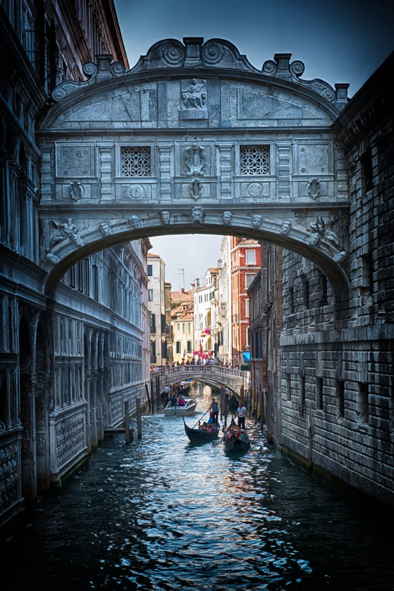 Venice Bridge Of Sighs Midnight Blue Italy By