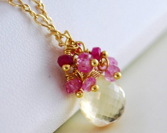 Ruby Gemstone Necklace, Genuine Precious AAA Stone, White Wine Scapolite, Pink Sapphire, Wire Wrapped, Gold Jewelry, Free Shipping