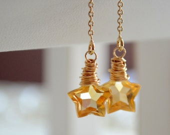 Citrine Earrings, Gemstone Stars, Threader Earrings, November Birthstone, Simple Delicate Sterling Silver or Gold Jewelry, Free Shipping