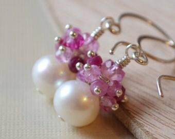Ruby Earrings, Clusters of Genuine Pink Gemstones, Drop Pearl Earrings, July Birthstone, Sterling Silver Jewelry, Valentine, Free Shipping
