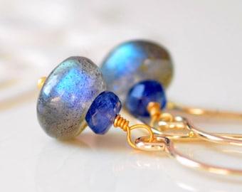 Labradorite Earrings, Drop, Kyanite Gemstones, Royal Blue Semiprecious Stone Stack, Gold Jewelry, Free Shipping