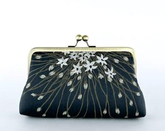 Silk Clutch in Black, wedding clutch, wedding bag, bridesmaid clutch, Bridal clutch, Purse for wedding