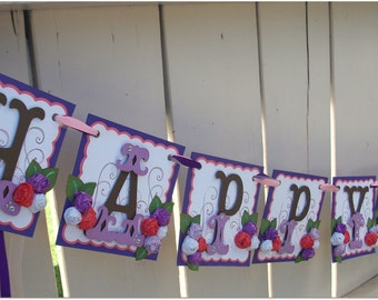 Happy Birthday Banner - Handmade Banner - Custom Made - GO GREEN Whale Themed Banner Purple