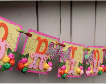 Handmade Banner - Custom made - GO GREEN - Name Banner Happy Birthday Baby Shower Bridal Shower Bride To Be