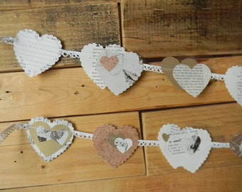 Set of two 'String of many Hearts' garlands