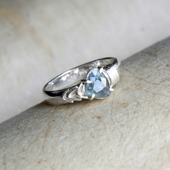 Light Blue Sapphire Engagement Ring Diamond Cut by mysticalCharm3